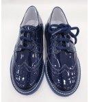 Scarpe Inglesine da Cerimonia Bambino, Colore Blu in Pelle in vernice, Primi Giorni
