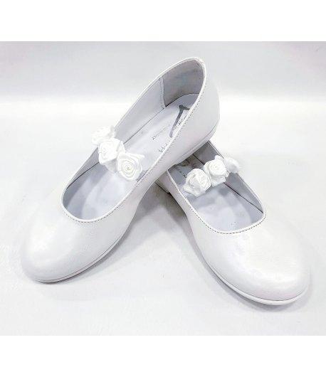 Scarpe Cerimonia Bambina Ragazza, con Fiori sulla Fascia e Piccolo Tacco, Colore Bianco in Pelle, Primi Giorni