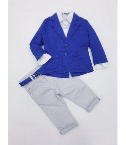 Completino Casual Cerimonia Baby, Colore Blu, Grigio e Bianco in Cotone, Rebel