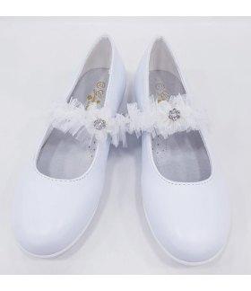 Scarpe Ballerina Cerimonia Bimba, con Fiore e Tulle sulla Fascia e Piccolo Tacco, Colore Bianco in ecoPelle , Marca , GDO