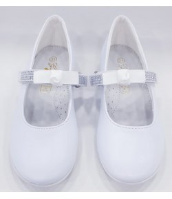 Scarpe Ballerina Cerimonia Bimba, con Fiocco e Stras sulla Fascia e Piccolo Tacco, Colore Bianco in ecoPelle , Marca , GDO