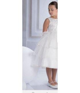 Vestitino Cerimonia Bimba per Damigella con Volant, Perline e Fiocco, Colore Bianco in Misto Raso, Nazareno Gabrielli