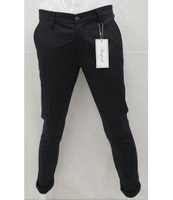 Pantalone Uomo Slim, Elasticizzato, Colore Nero in Cotone Pettinato,MANFREDI BREND
