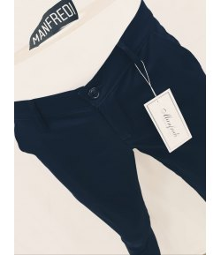 Pantalone Uomo Slim, Elasticizzato, Colore Blu in Cotone Pettinato, Manfredi