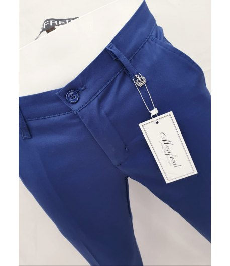 Pantalone Uomo Slim, Elasticizzato, Colore Blu Elettrico in Cotone Pettinato,MANFREDI BREND