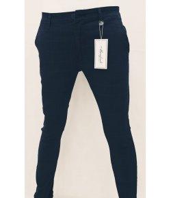 Pantalone Uomo/Ragazzo Manfredi Slim Elasticizzato Colore, Blu in Microfantasia