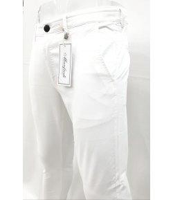 Pantalone Uomo/Ragazzo Manfredi Slim Elasticizzato Colore, Bianco