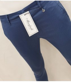 Pantalone Uomo/Ragazzo Manfredi Slim Elasticizzato Cerimonia Casual Colore, Blu