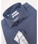 Camicia Uomo a Fantasia con Collo alla Francese, Colore Blu a Pois Bianchi e Blu in Cotone, Manfredi