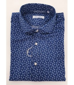 Camicia Uomo con Collo alla Francese, Colore Blu a Fantasia in Cotone Elasticizzato, Brera