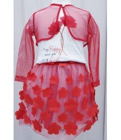 Completino Floreale Cerimonia Bimba e Bambina, Colore Bianco e Rosso in Misto Cotone e Velo, Frank Ferry