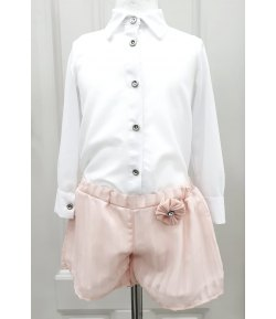Completino Cerimonia Bimba e Bambina, Camicia e Pantaloncini, Colore Bianco e Rosa in Misto Bambina, Dafny