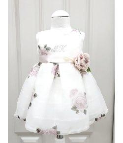 Abitino Floreale Cerimonia Bimba e Bambina, con Coprispalle Rosa, Cintura e Fiore, Colore Bianco e Rosa in Poliestere, Bambolina