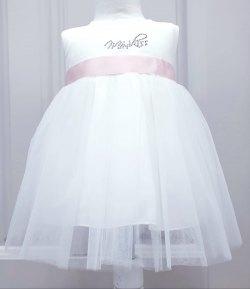 Abitino Cerimonia Neonata Bimba, con Coprispalle, Cintura di Raso e Fiore, Colore Bianco e Rosa in Poliestere, Kiss