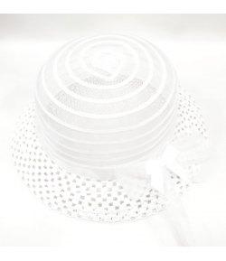 Cappellino Cerimonia Bimba con Fiocco, Colore Bianco in Tela, Graziella