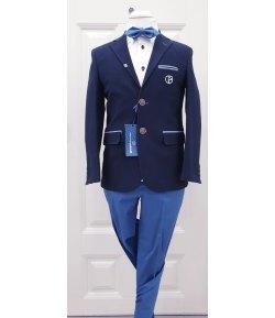 Completino Cerimonia Bambino, Colore Blu, Bianco e Azzurro in Cotone, Nazareno Gabrielli