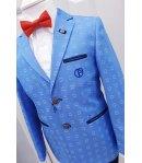 Completino Cerimonia Bambino, Colore Azzurro, Blu, Bianco e Rosso in Cotone, Nazareno Gabrielli