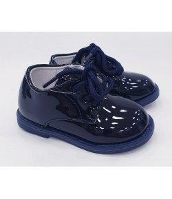 Scarpe Inglesine Baby da Cerimonia Bambino, Colore Blu LUCIDO in ecoPelle ,  Marca,GDO