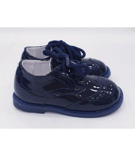 Scarpe Inglesine Baby da Cerimonia Bambino, Colore Vernice Blu in ecoPelle , Marca,GDO
