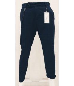 Pantalone Uomo Manfredi in Cotone Elasticizzato Colore, Blu